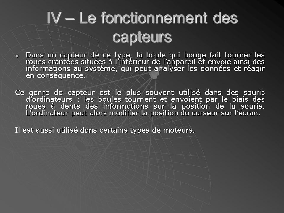 IV – Le fonctionnement des capteurs
