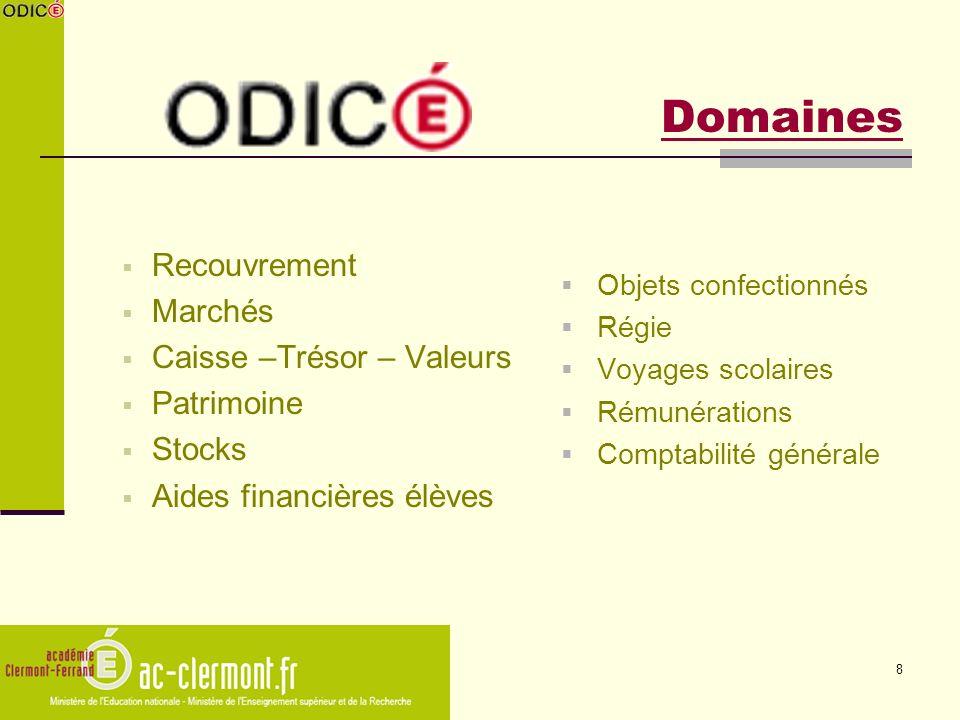 Domaines Recouvrement Marchés Caisse –Trésor – Valeurs Patrimoine