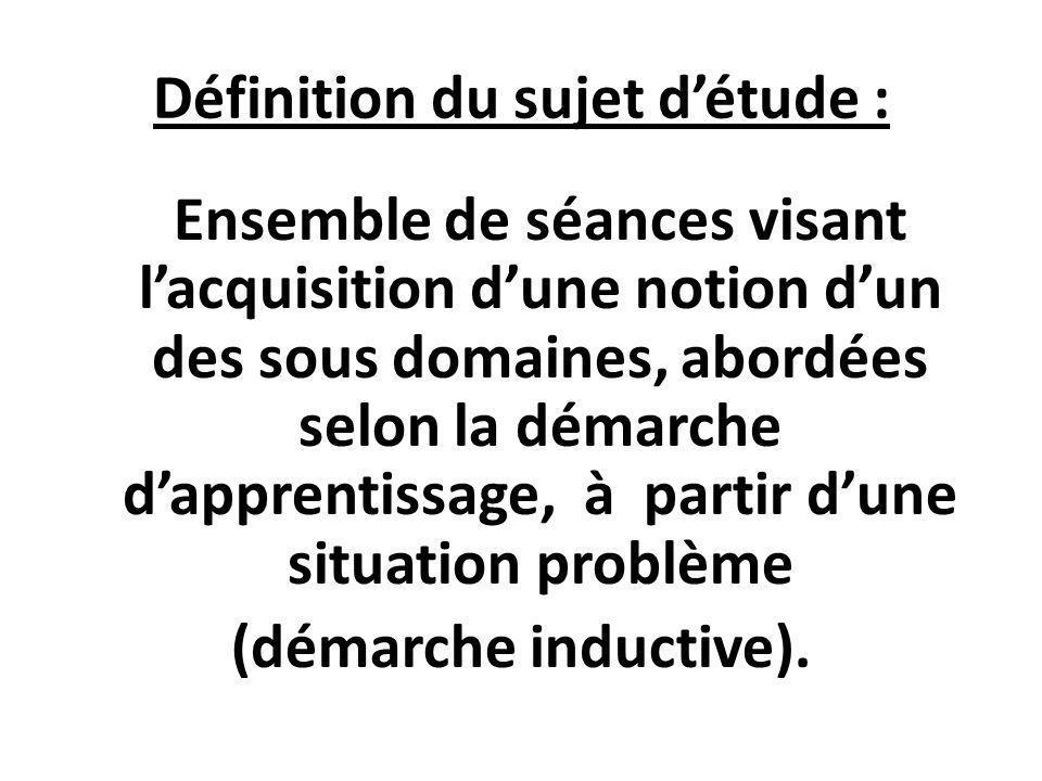 Définition du sujet d'étude :