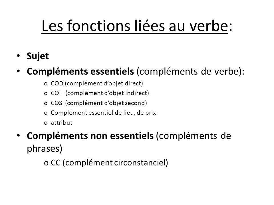 Les fonctions liées au verbe: