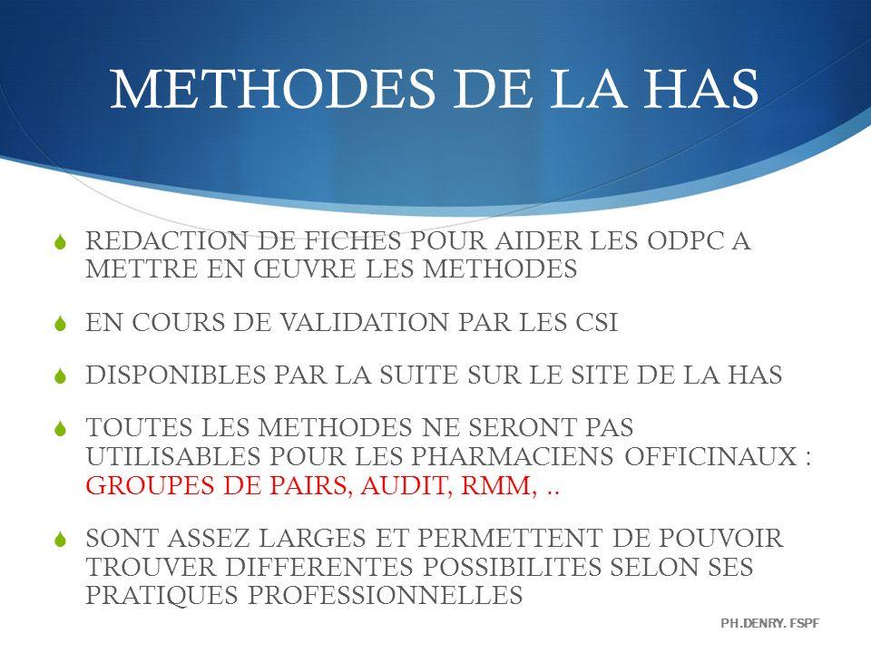METHODES DE LA HAS REDACTION DE FICHES POUR AIDER LES ODPC A METTRE EN ŒUVRE LES METHODES. EN COURS DE VALIDATION PAR LES CSI.