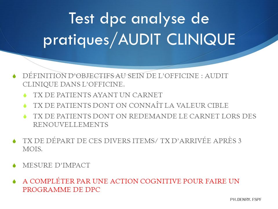 Test dpc analyse de pratiques/AUDIT CLINIQUE