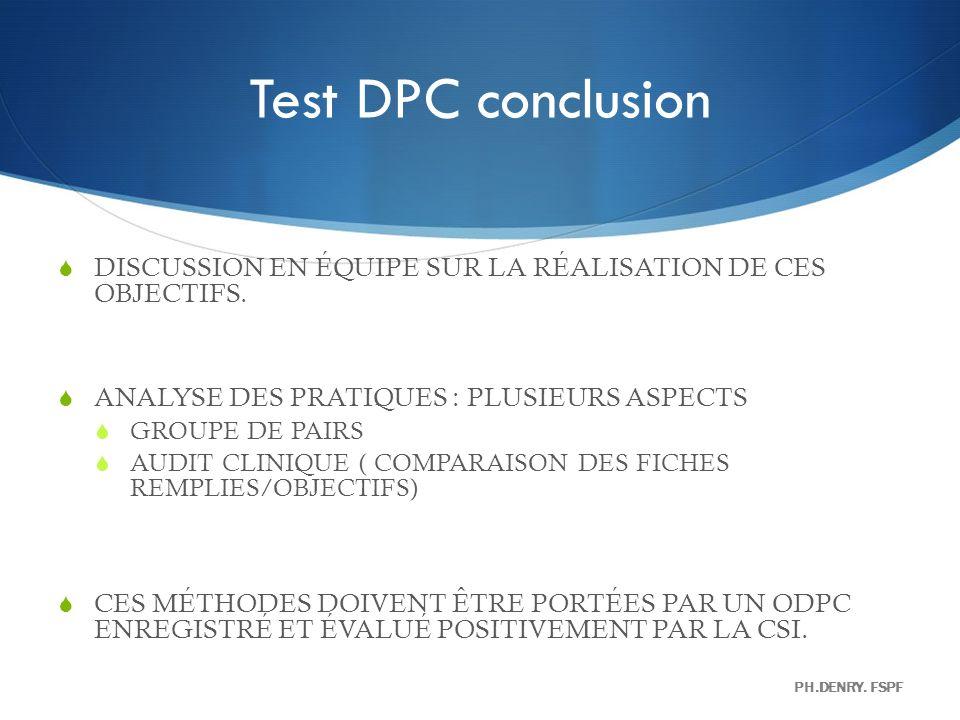 Test DPC conclusion DISCUSSION EN ÉQUIPE SUR LA RÉALISATION DE CES OBJECTIFS. ANALYSE DES PRATIQUES : PLUSIEURS ASPECTS.