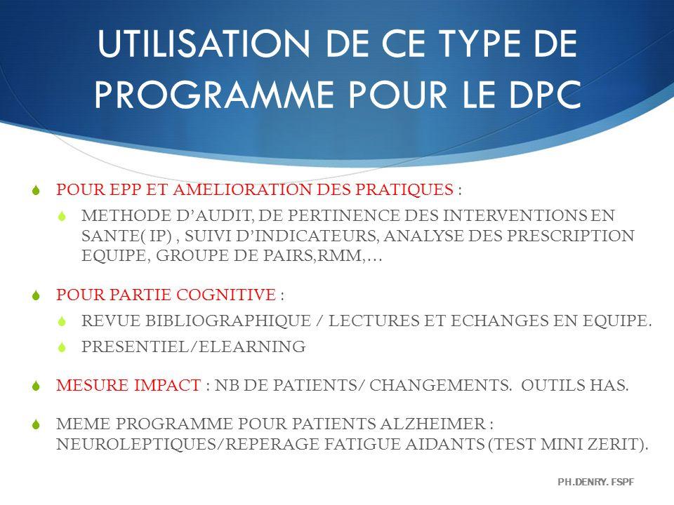 UTILISATION DE CE TYPE DE PROGRAMME POUR LE DPC