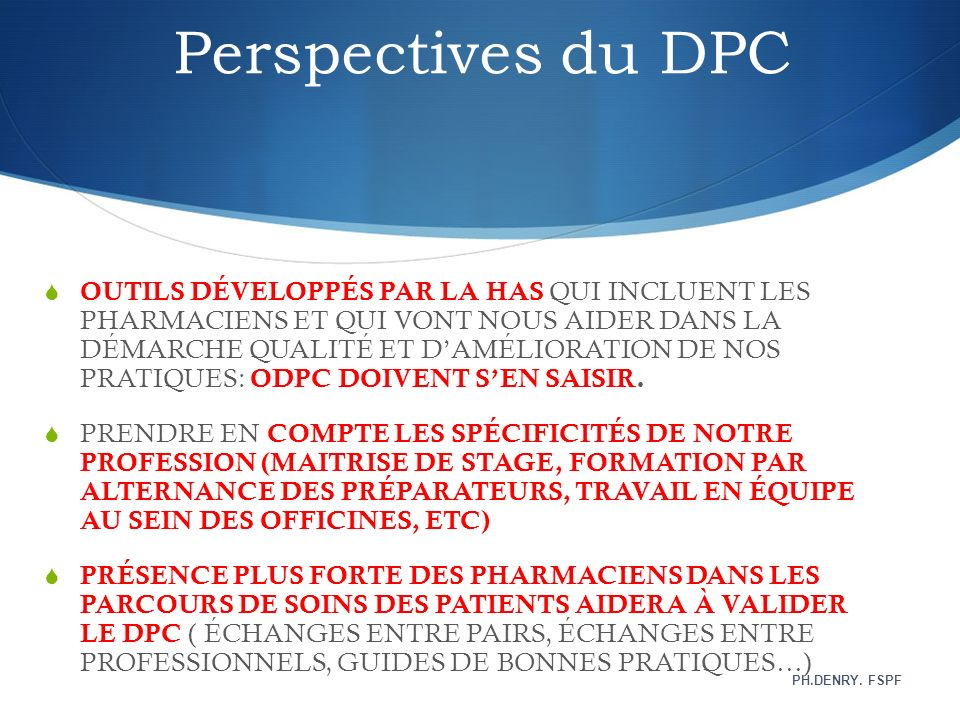 Perspectives du DPC