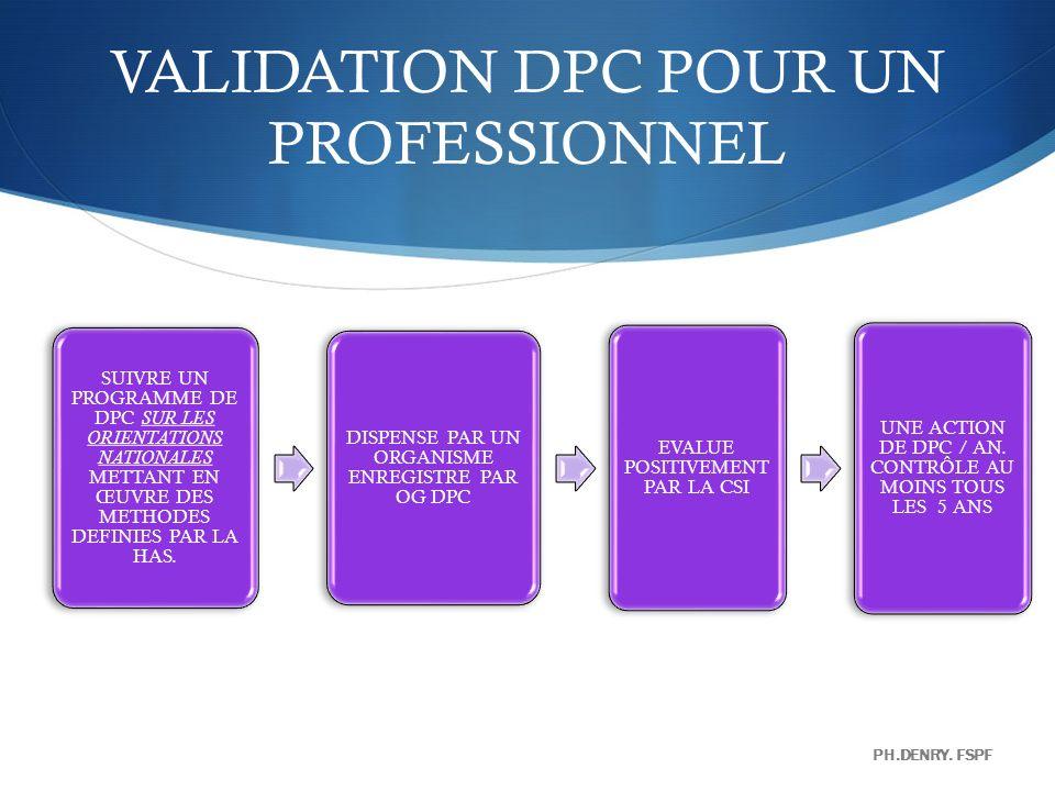 VALIDATION DPC POUR UN PROFESSIONNEL