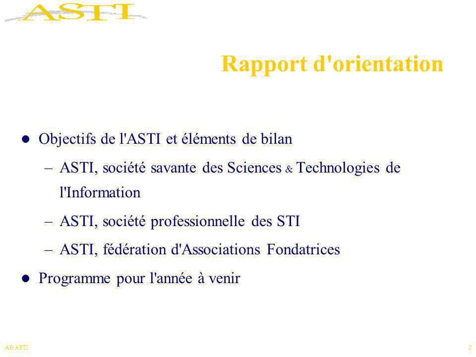 Rapport d orientation Objectifs de l ASTI et éléments de bilan