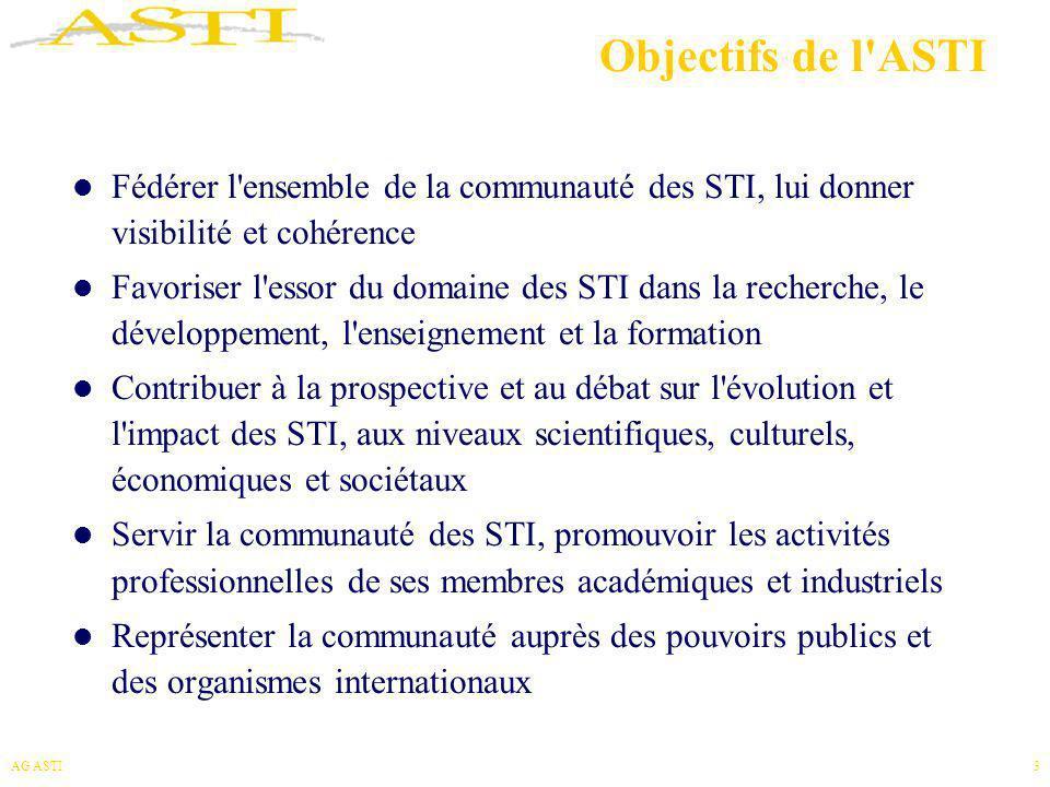 Objectifs de l ASTI Fédérer l ensemble de la communauté des STI, lui donner visibilité et cohérence.