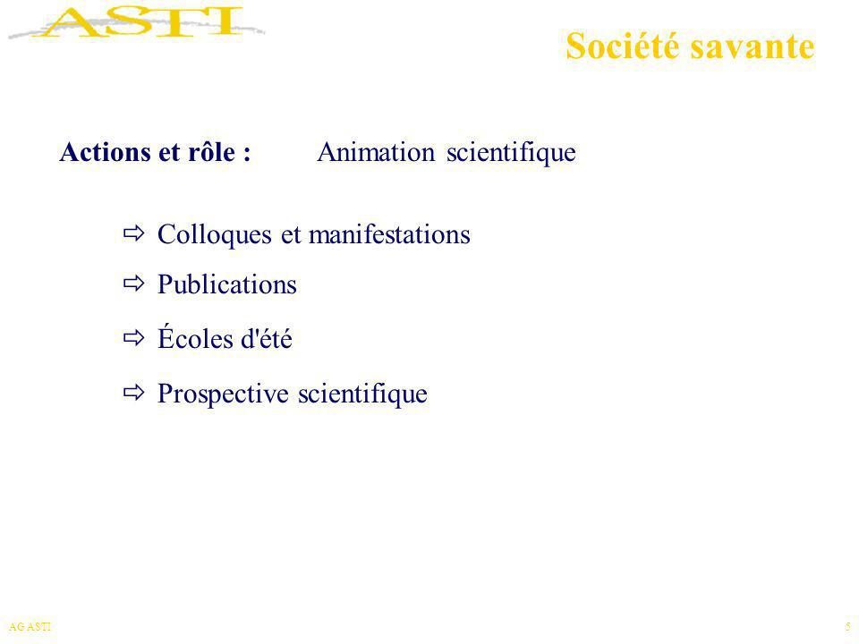 Société savante Actions et rôle : Animation scientifique
