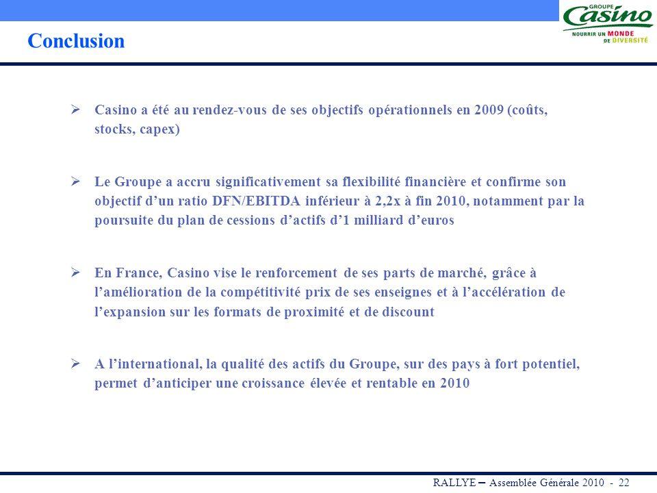 Conclusion Casino a été au rendez-vous de ses objectifs opérationnels en 2009 (coûts, stocks, capex)