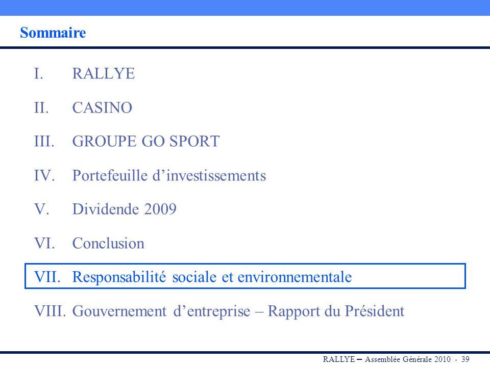 Portefeuille d'investissements Dividende 2009 Conclusion