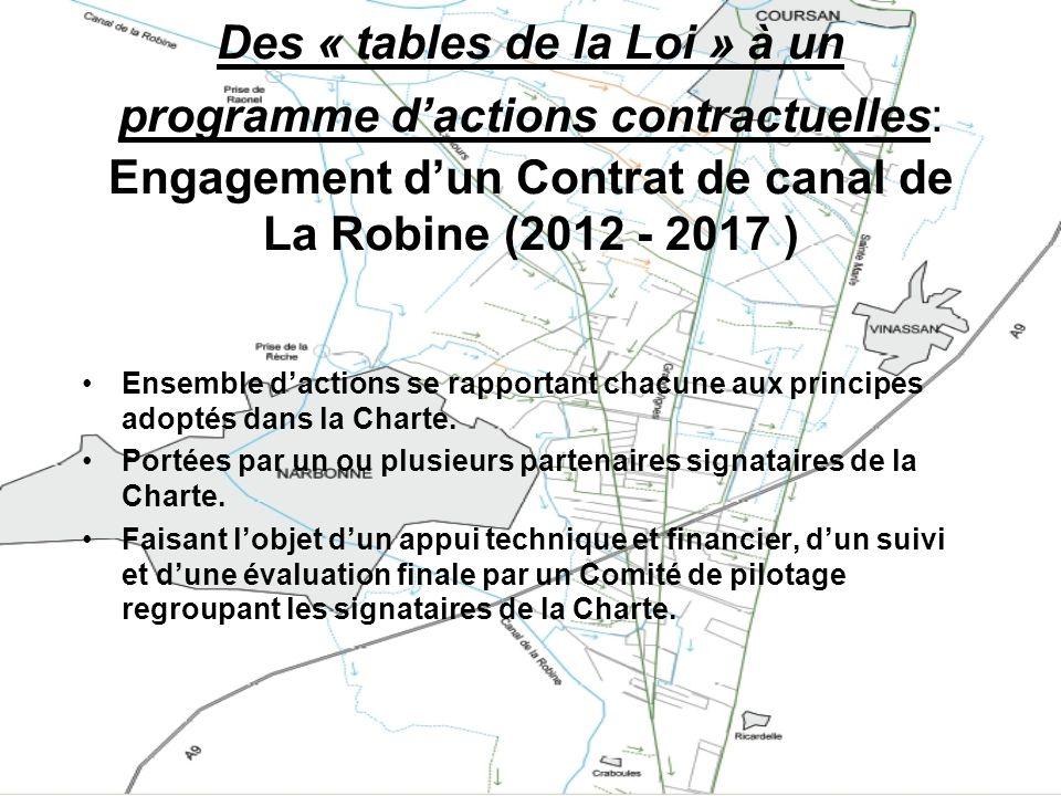 Des « tables de la Loi » à un programme d'actions contractuelles: Engagement d'un Contrat de canal de La Robine (2012 - 2017 )