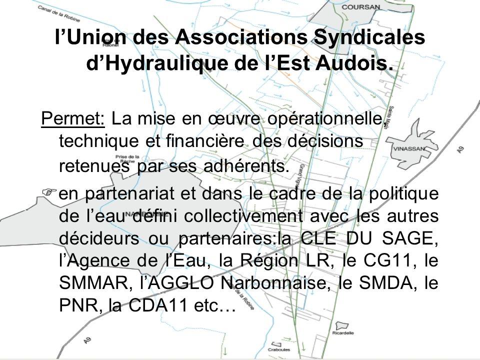 l'Union des Associations Syndicales d'Hydraulique de l'Est Audois.