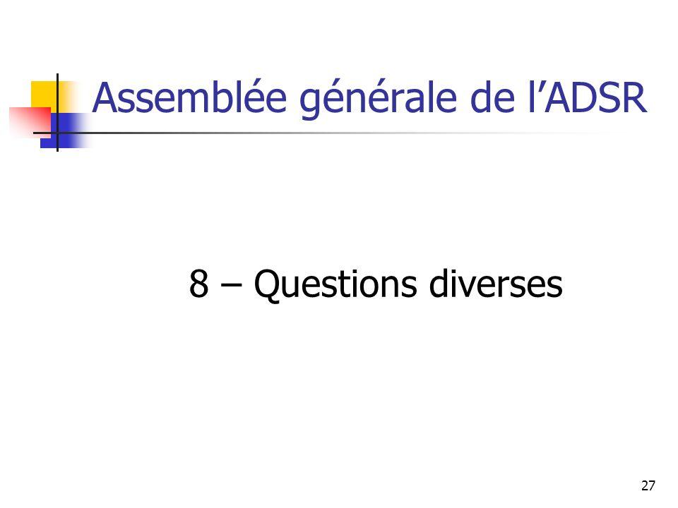 Assemblée générale de l'ADSR