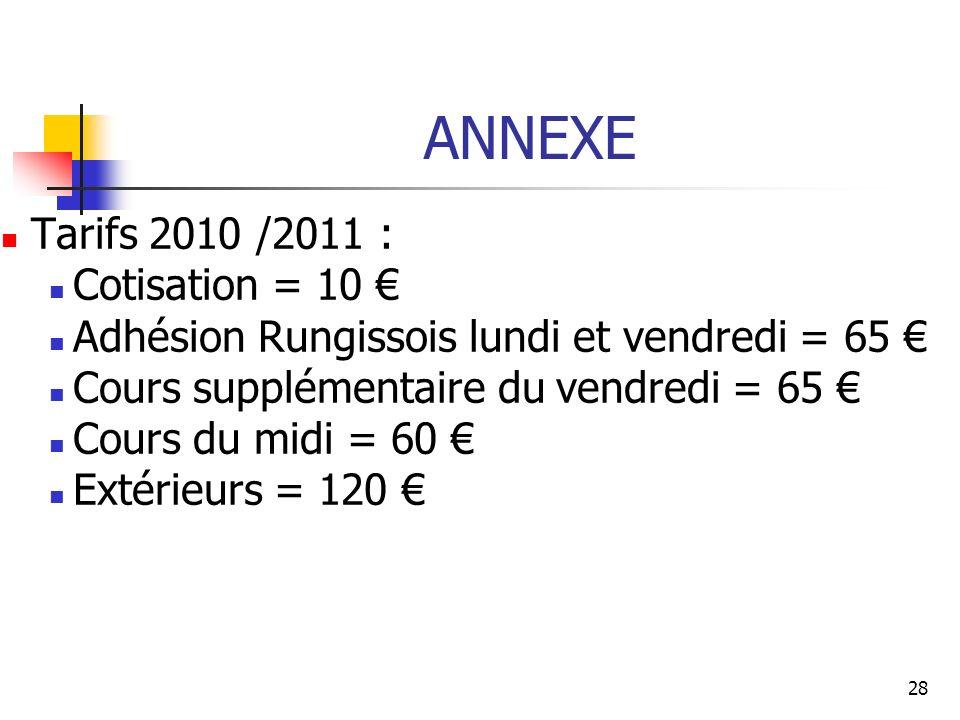 ANNEXE Tarifs 2010 /2011 : Cotisation = 10 €