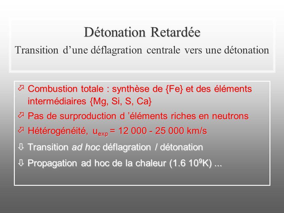 Détonation Retardée Transition d'une déflagration centrale vers une détonation