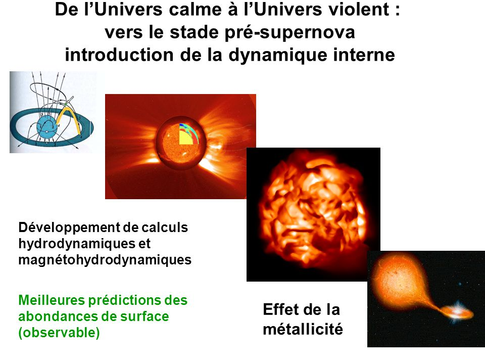 De l'Univers calme à l'Univers violent : vers le stade pré-supernova introduction de la dynamique interne