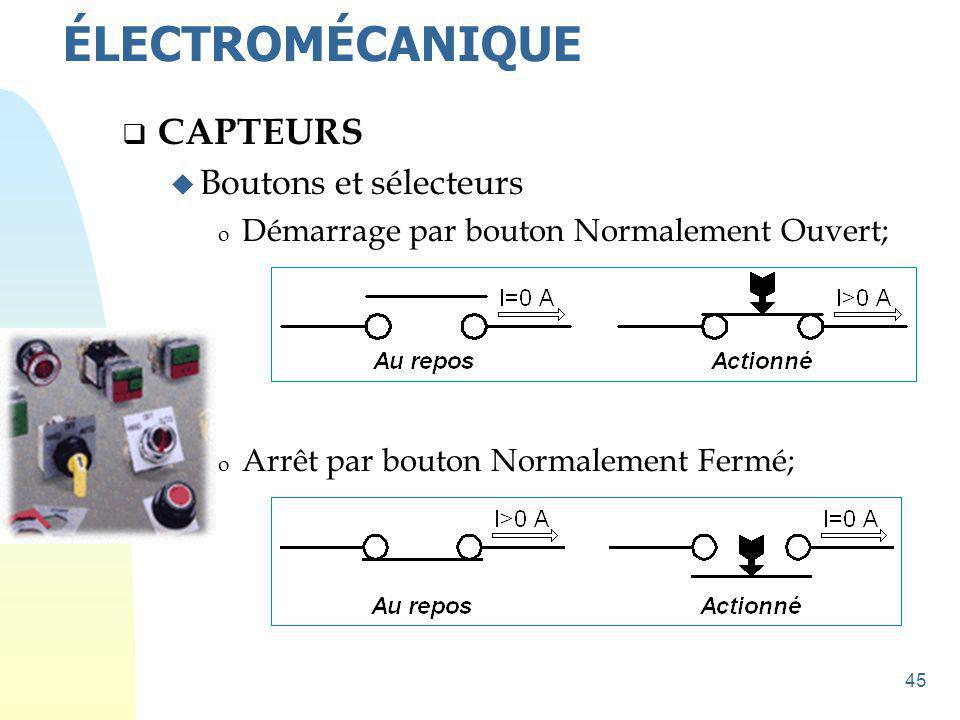 ÉLECTROMÉCANIQUE CAPTEURS Boutons et sélecteurs
