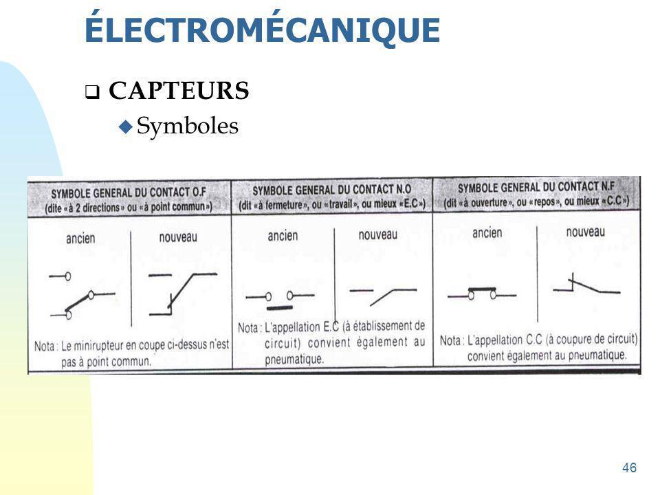 ÉLECTROMÉCANIQUE CAPTEURS Symboles