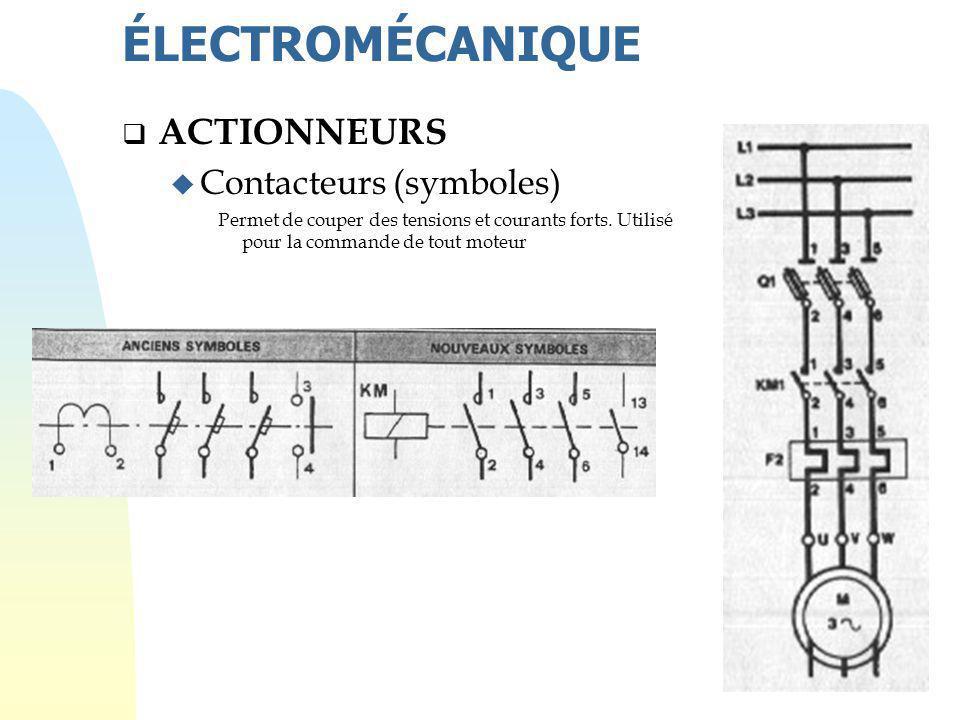 ÉLECTROMÉCANIQUE ACTIONNEURS Contacteurs (symboles)