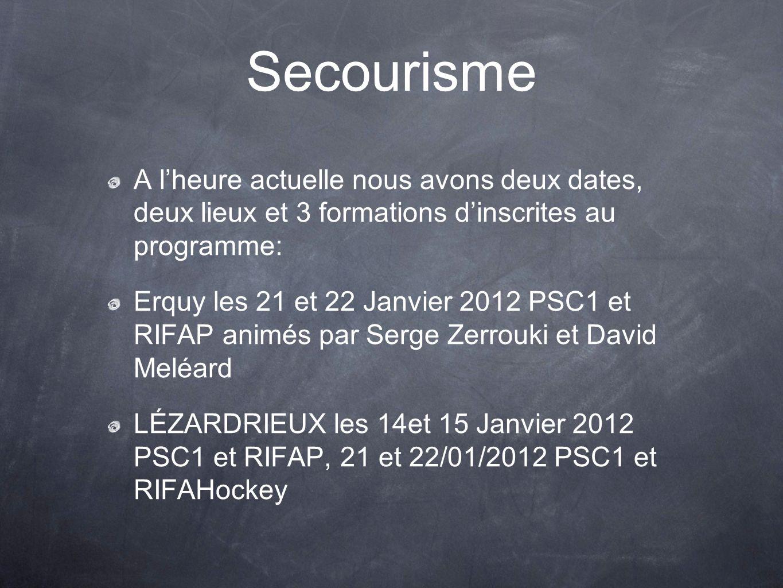 Secourisme A l'heure actuelle nous avons deux dates, deux lieux et 3 formations d'inscrites au programme: