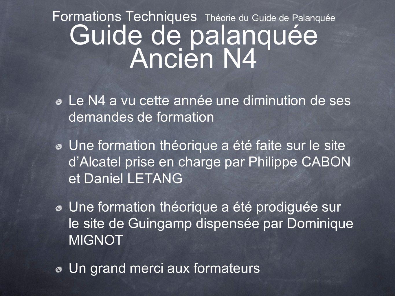 Formations Techniques Théorie du Guide de Palanquée Guide de palanquée Ancien N4