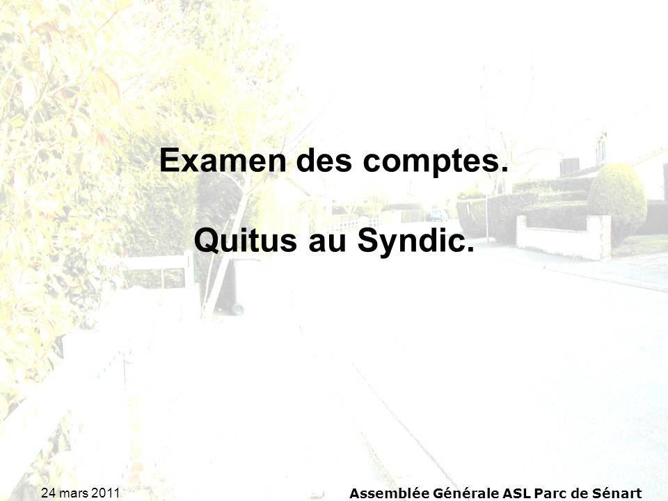 Examen des comptes. Quitus au Syndic.
