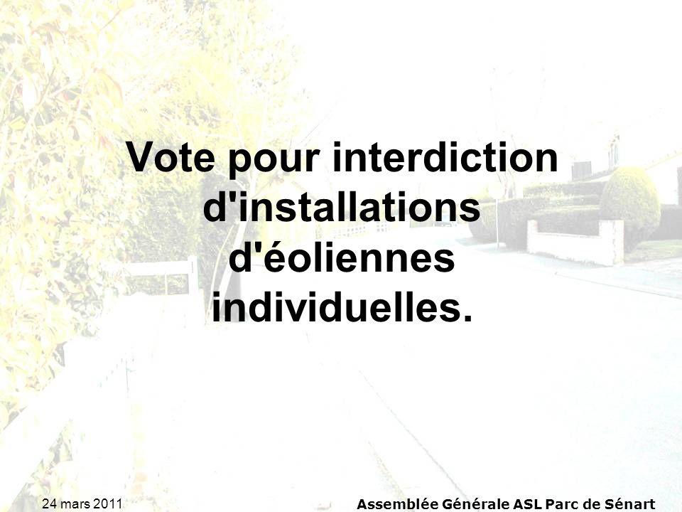 Vote pour interdiction d installations d éoliennes individuelles.