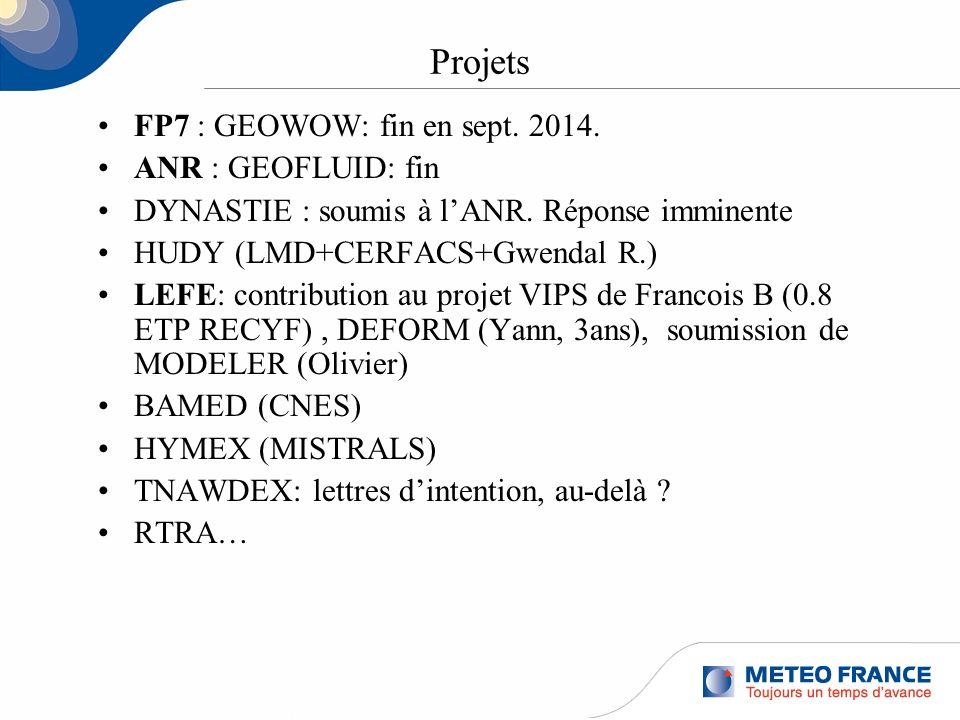 Projets FP7 : GEOWOW: fin en sept. 2014. ANR : GEOFLUID: fin