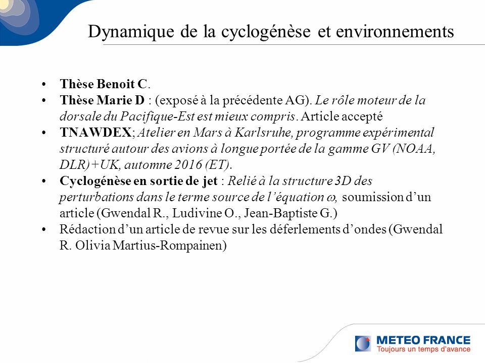 Dynamique de la cyclogénèse et environnements