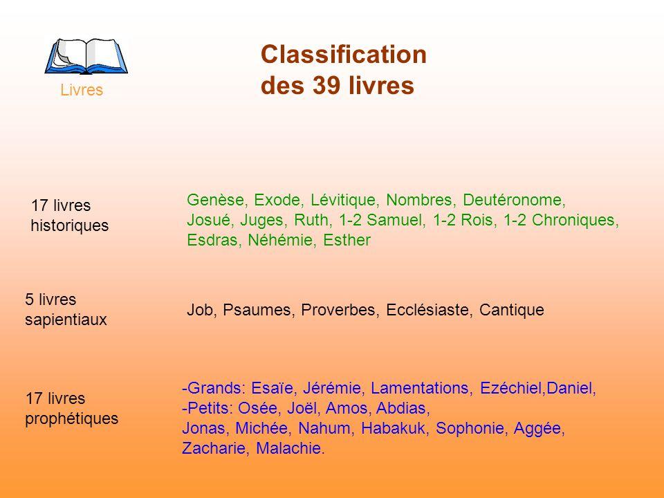 Classification des 39 livres