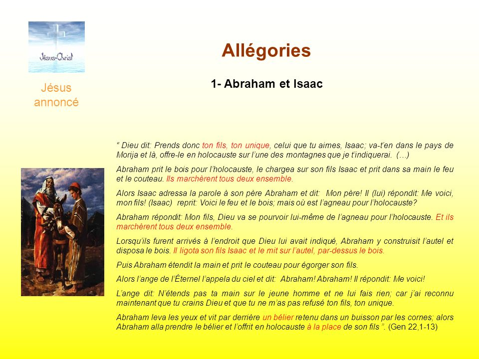 Allégories 1- Abraham et Isaac Jésus annoncé