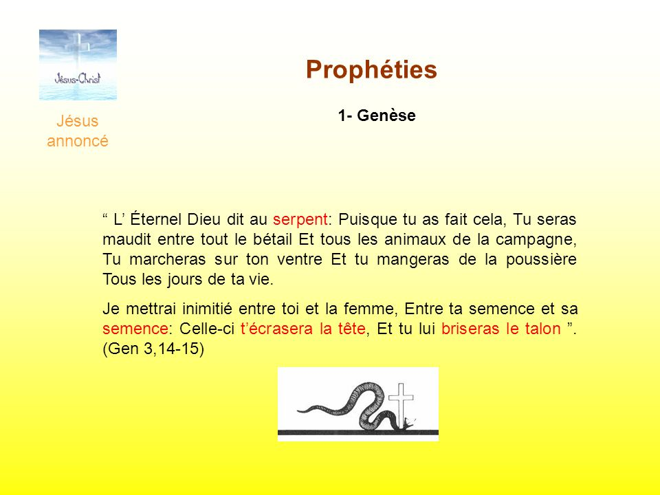 Prophéties 1- Genèse Jésus annoncé