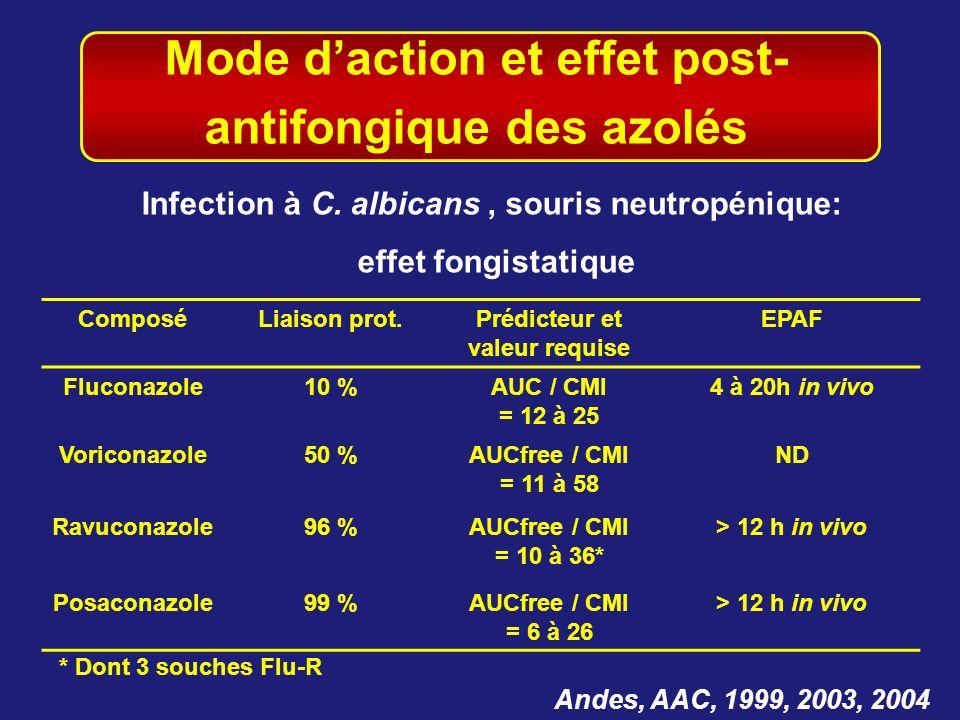 Mode d'action et effet post- antifongique des azolés