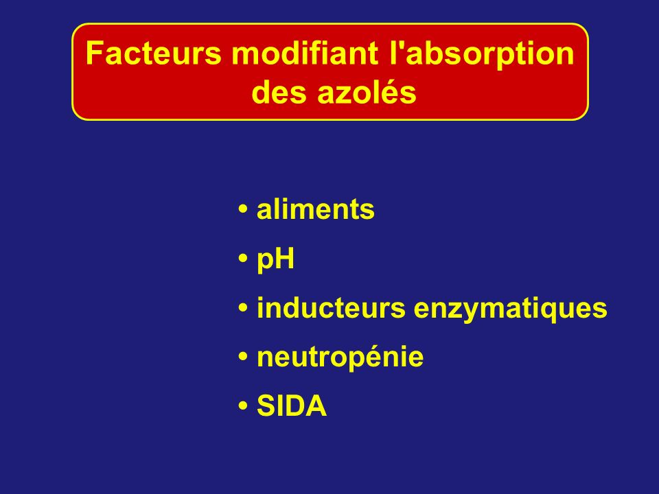 Facteurs modifiant l absorption des azolés