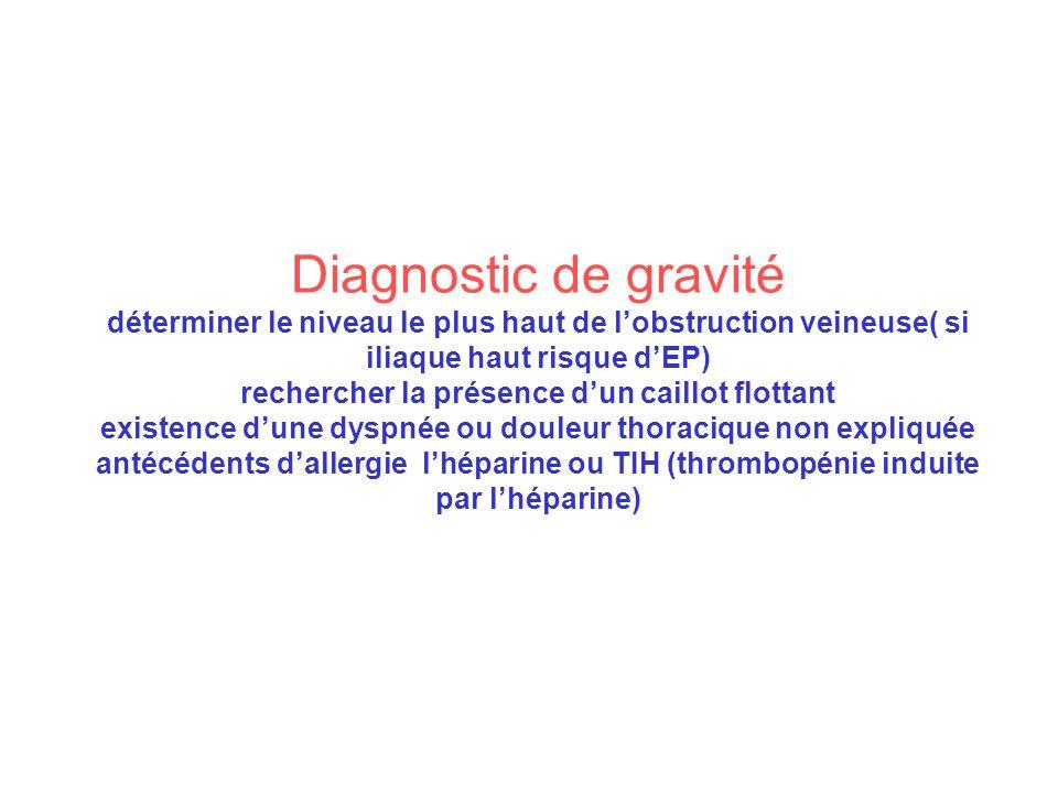 Diagnostic de gravité déterminer le niveau le plus haut de l'obstruction veineuse( si iliaque haut risque d'EP) rechercher la présence d'un caillot flottant existence d'une dyspnée ou douleur thoracique non expliquée antécédents d'allergie l'héparine ou TIH (thrombopénie induite par l'héparine)