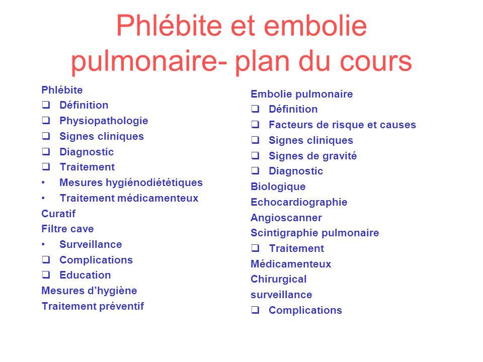Phlébite et embolie pulmonaire- plan du cours
