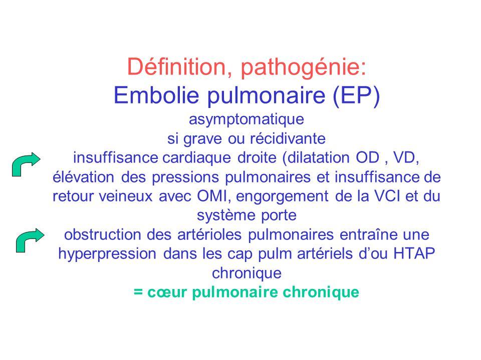 Définition, pathogénie: Embolie pulmonaire (EP) asymptomatique si grave ou récidivante insuffisance cardiaque droite (dilatation OD , VD, élévation des pressions pulmonaires et insuffisance de retour veineux avec OMI, engorgement de la VCI et du système porte obstruction des artérioles pulmonaires entraîne une hyperpression dans les cap pulm artériels d'ou HTAP chronique = cœur pulmonaire chronique