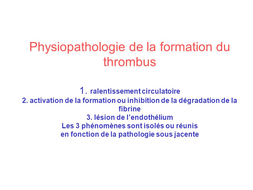 Physiopathologie de la formation du thrombus 1
