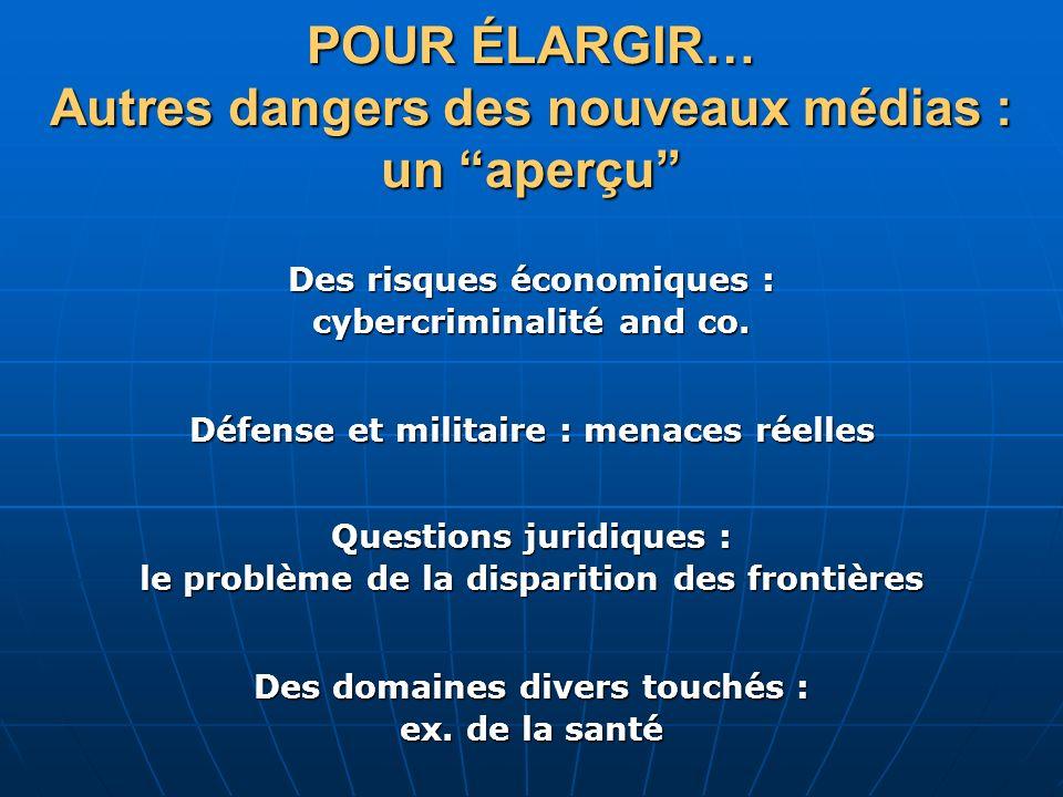 POUR ÉLARGIR… Autres dangers des nouveaux médias : un aperçu
