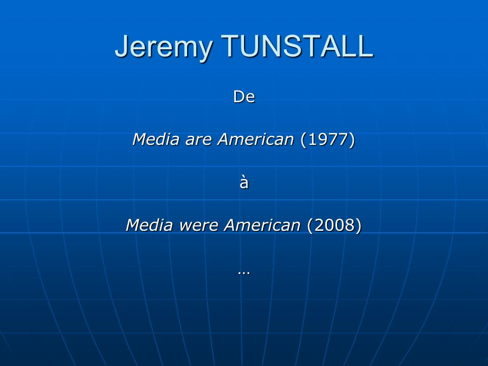 Jeremy TUNSTALL De Media are American (1977) à