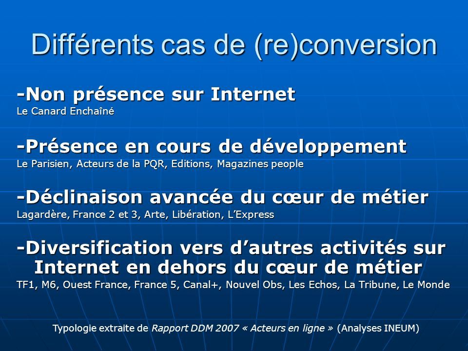 Différents cas de (re)conversion