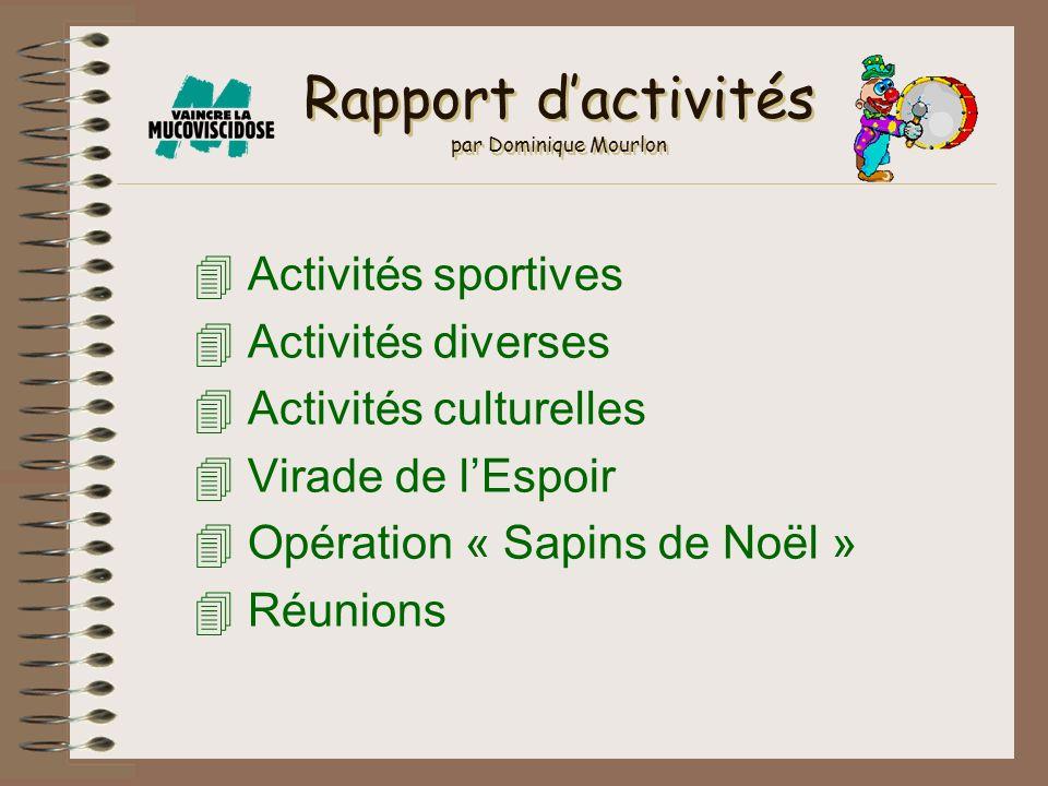 Rapport d'activités par Dominique Mourlon