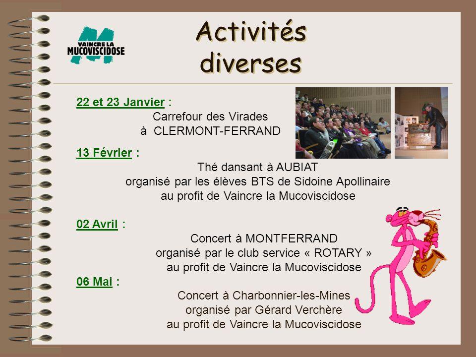 Activités diverses 22 et 23 Janvier : Carrefour des Virades