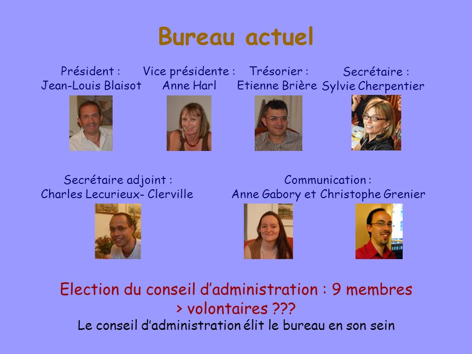 Bureau actuel Election du conseil d'administration : 9 membres