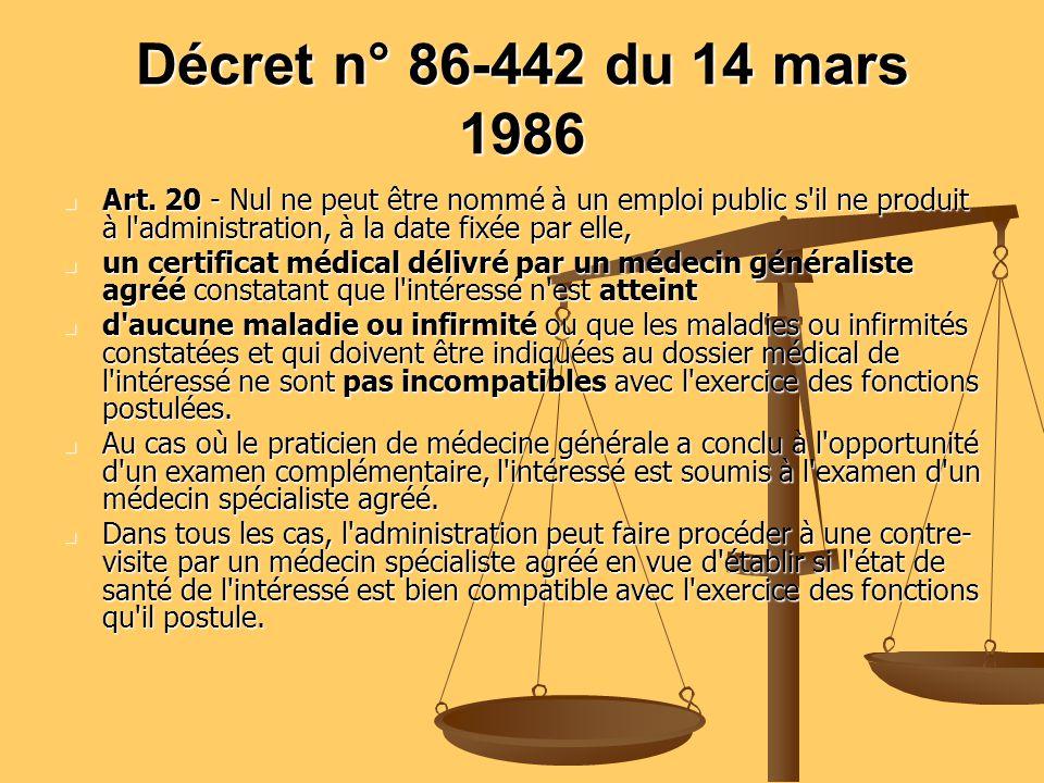 Décret n° 86-442 du 14 mars 1986 Art. 20 - Nul ne peut être nommé à un emploi public s il ne produit à l administration, à la date fixée par elle,