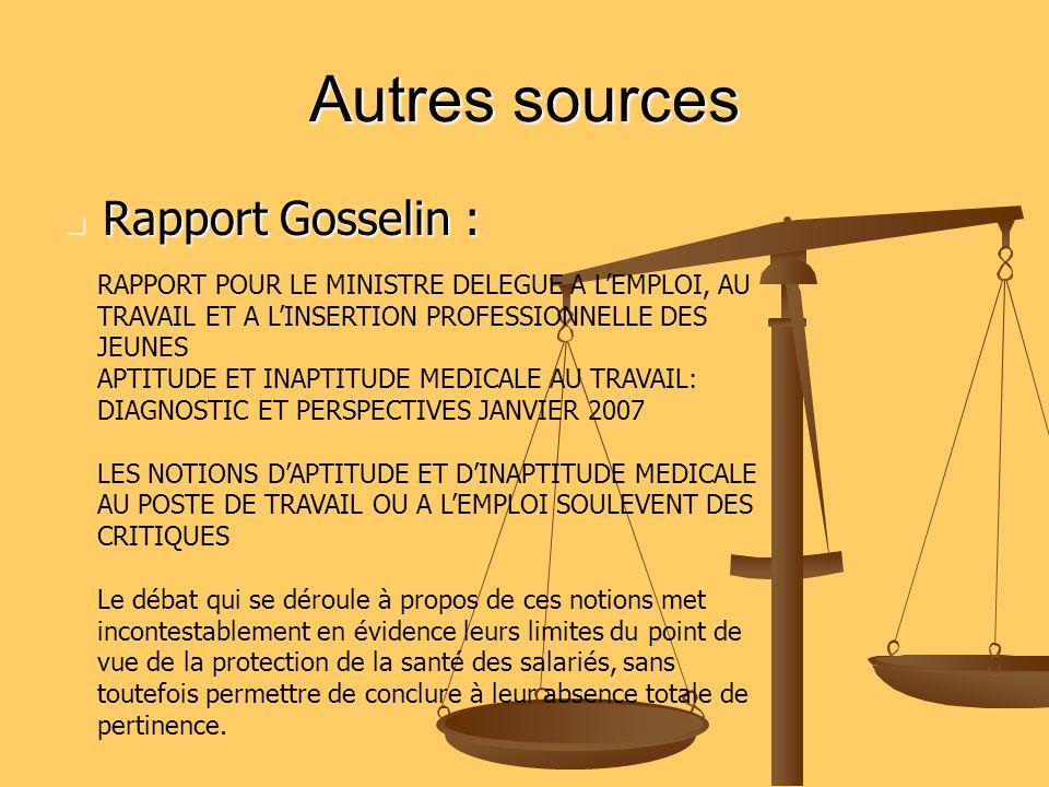 Autres sources Rapport Gosselin :
