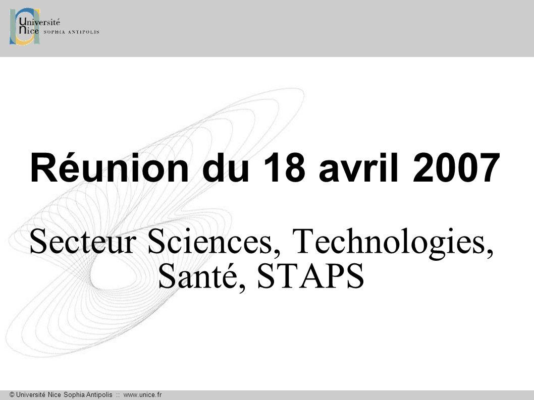 Secteur Sciences, Technologies, Santé, STAPS