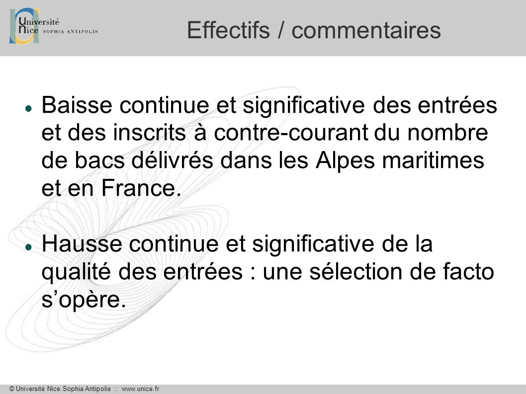 Effectifs / commentaires