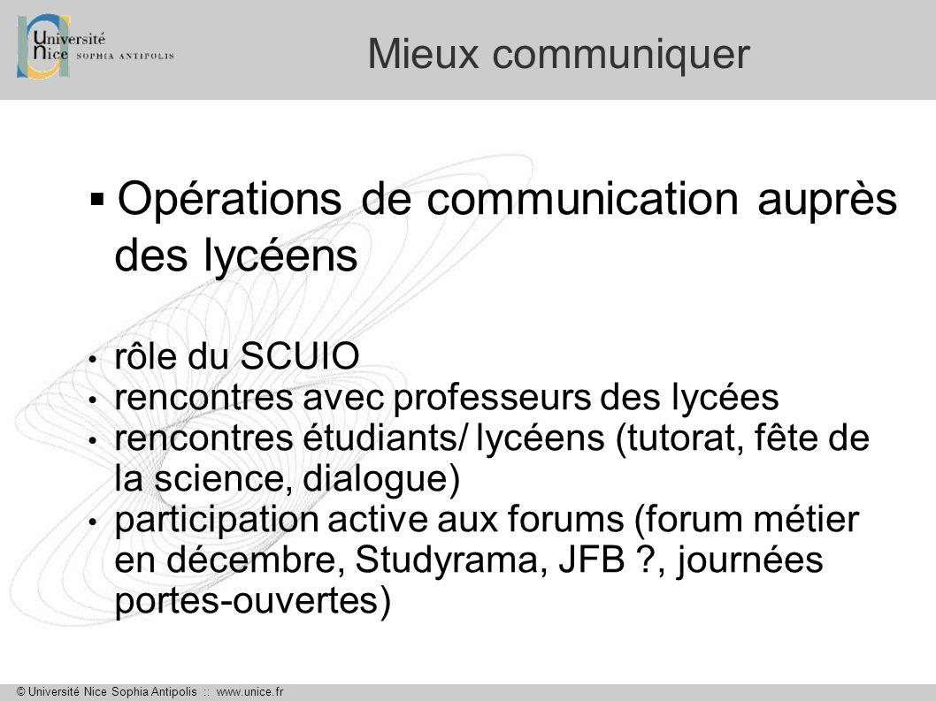 Opérations de communication auprès des lycéens